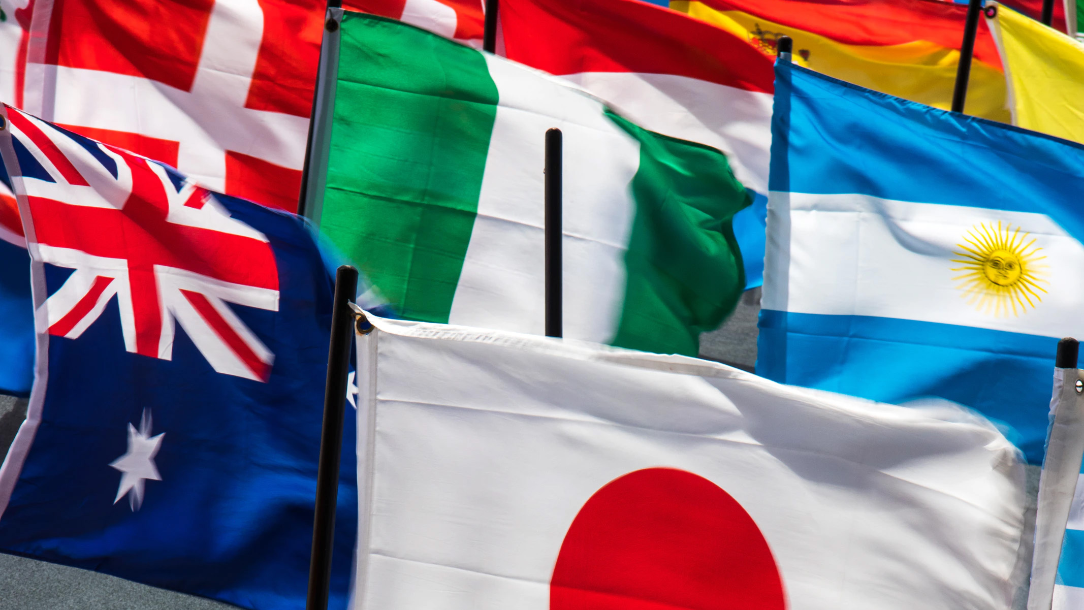 Flags of various nations.